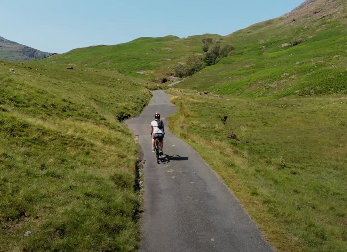 Riding an e-bike through the countryside