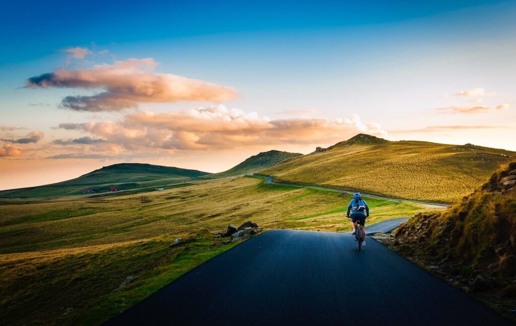 cycling up a steep hill